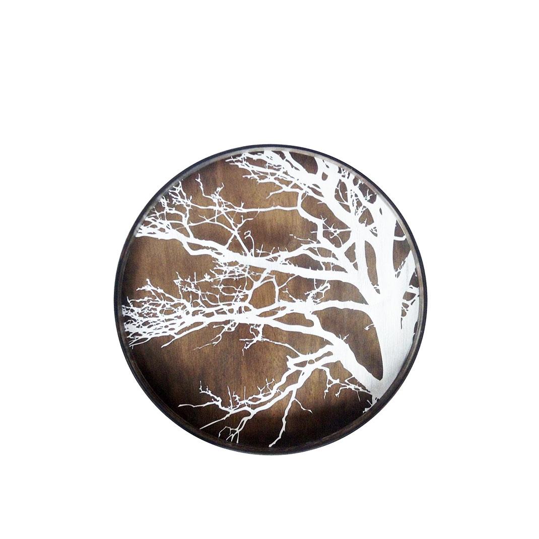 Notre Monde White Tree - Driftwood Round Tray - Medium 61cm