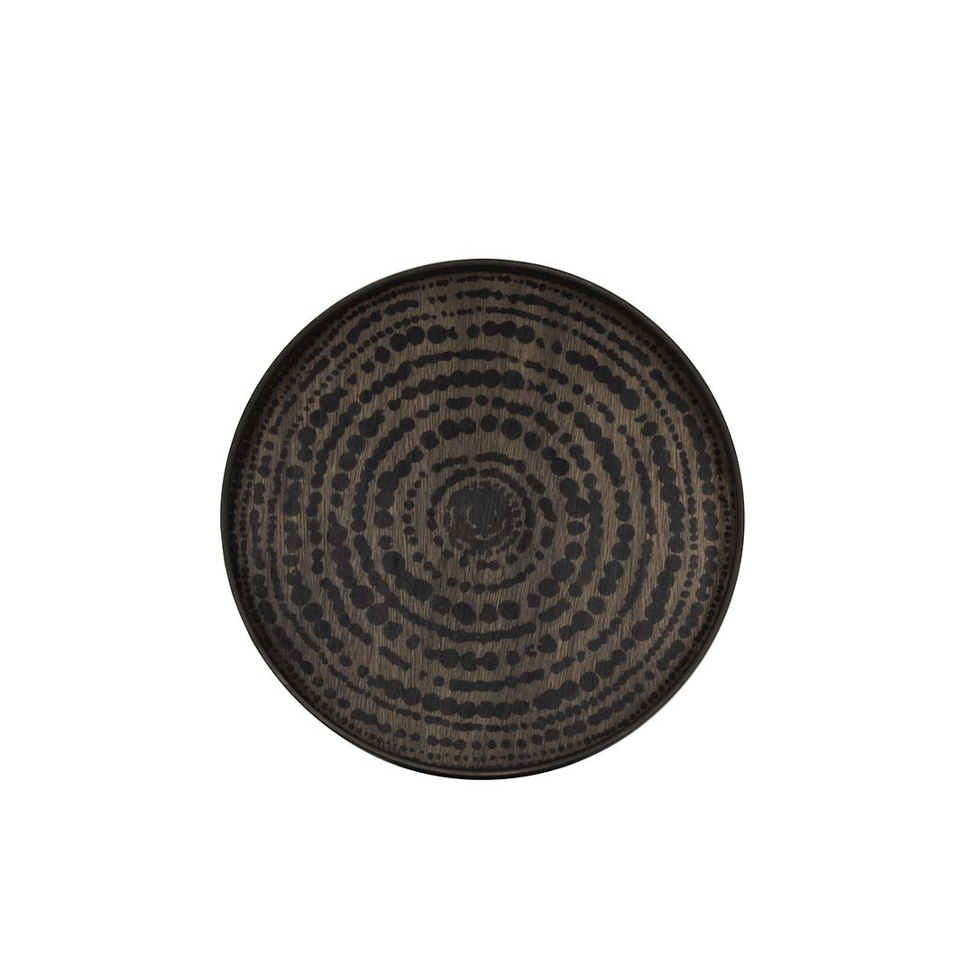 Notre Monde Black Beads - Driftwood Round Tray - Small 48cm