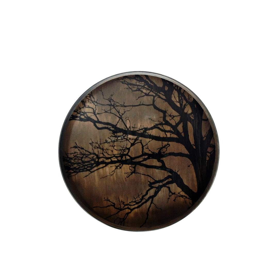 Notre Monde Black Tree - Driftwood Round Tray - Medium 61cm