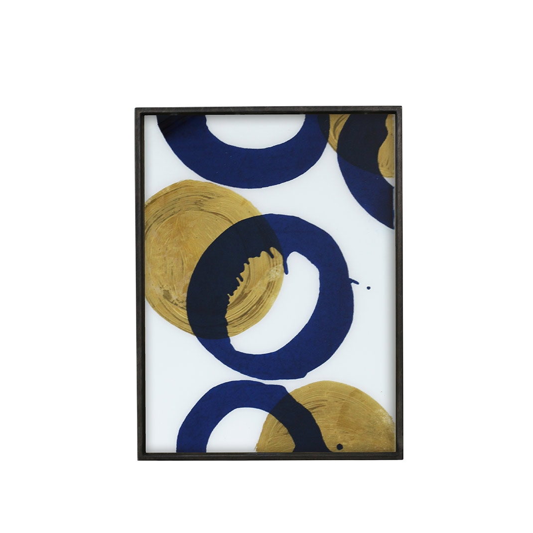 Notre Monde Gold and Blue Halos  - Glass Rectangle Tray - Large 61cm