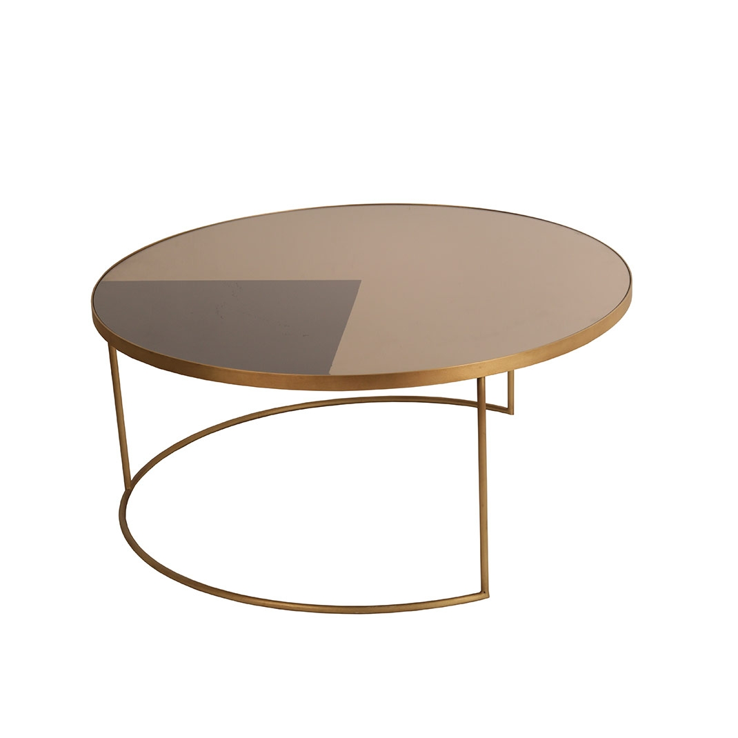 Notre Monde Geometric Bronze Round Coffee Table