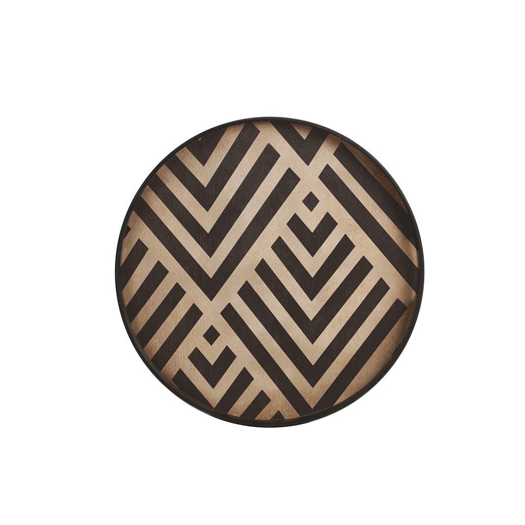 Notre Monde Graphite Chevron - Driftwood Round Tray - Small 48cm