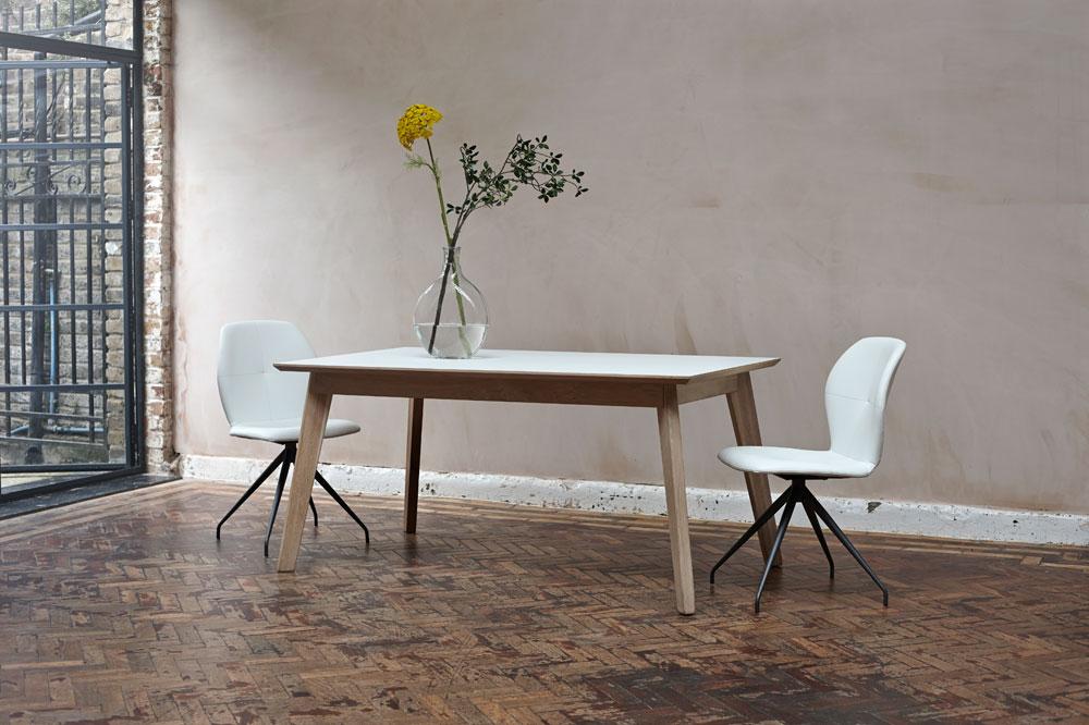 Bianco Fenix + oak extending dining table