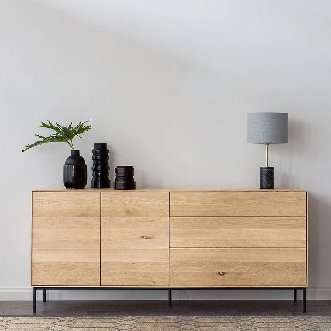Ethnicraft Oak Whitebird sideboard -  2 doors / 3 drawers