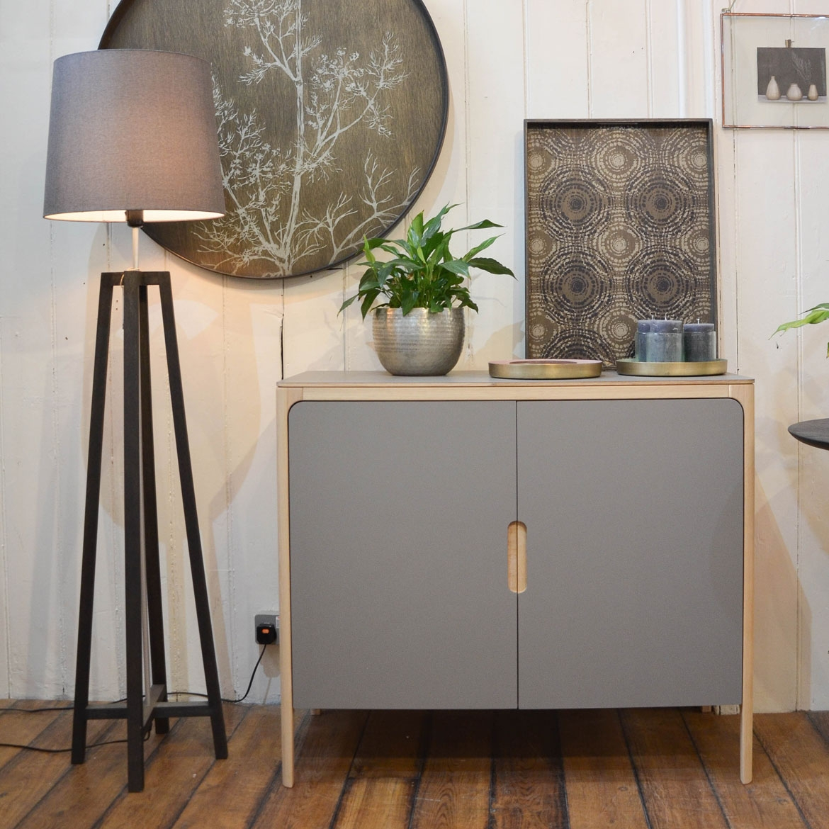 Chiswick showroom - ex-display Como sideboard | 2 doors | Fenix Grigio Londra Top | Oak-OO Frame