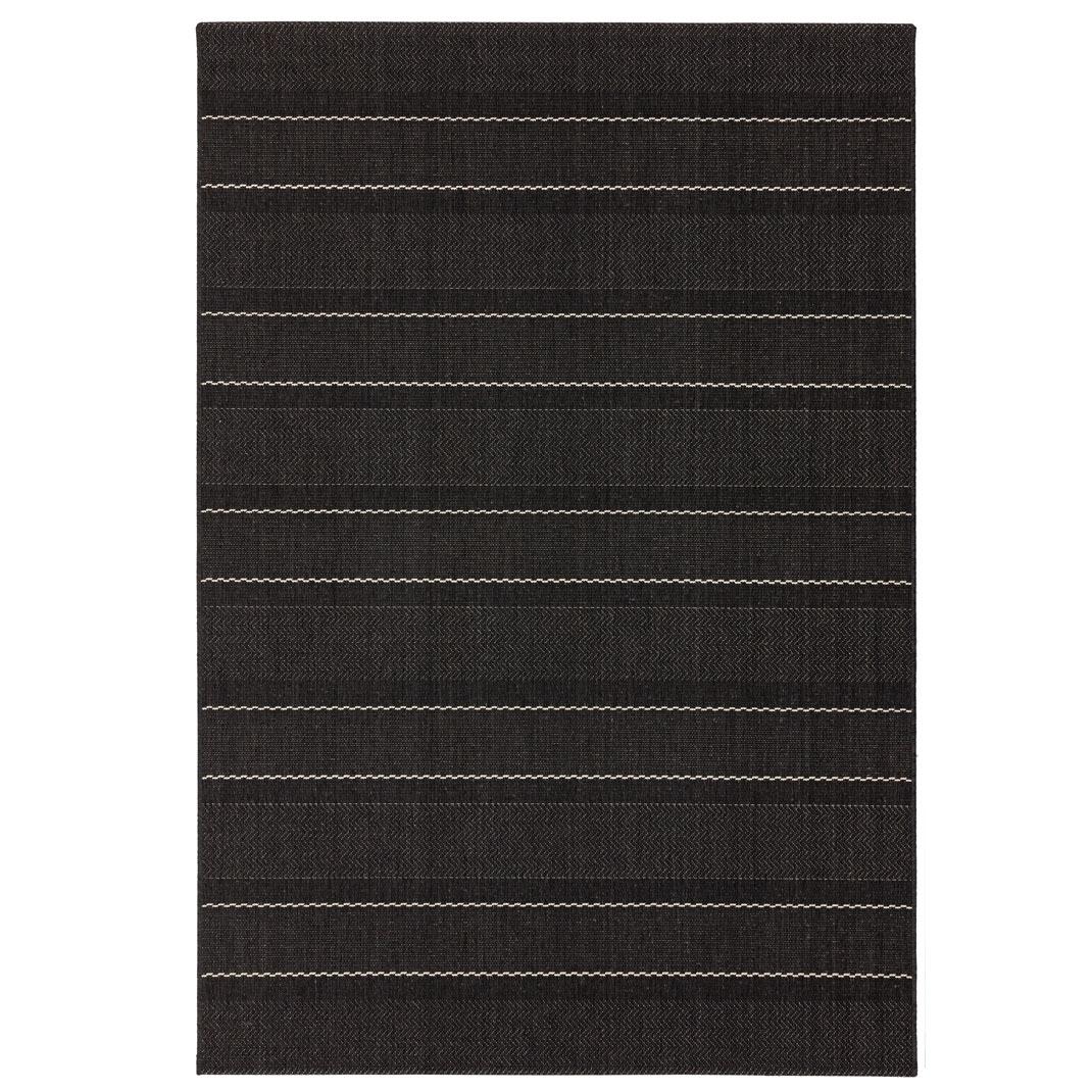Havana indoor and outdoor charcoal stripe rug