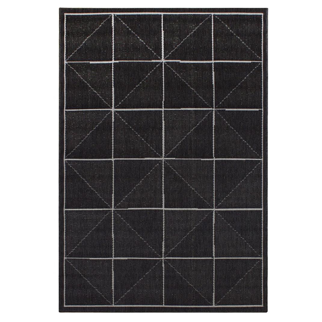 Havana indoor and outdoor charcoal check rug