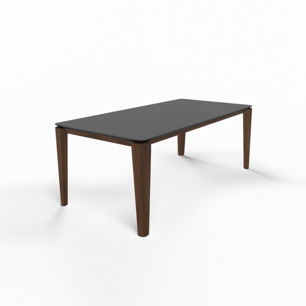 Mason round leg PB2 Fenix + walnut dining table