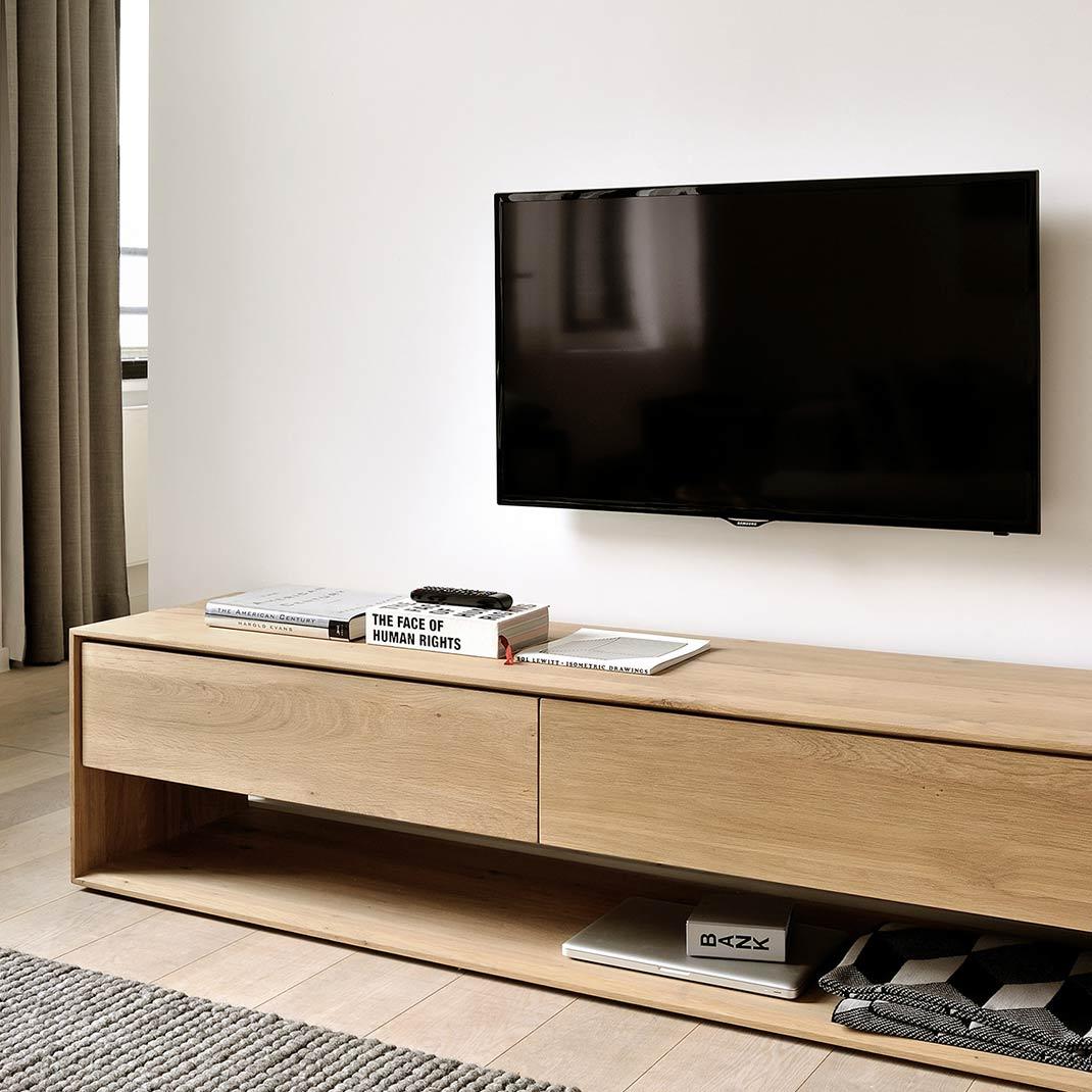 Ethnicraft Oak Nordic TV cupboard ‐ 1 flip‐down door ‐ 1 drawer - 180cm