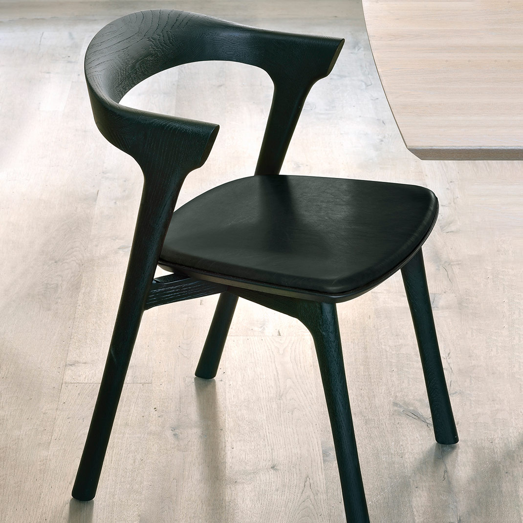 Ethnicraft Black Oak Bok chair with black leather seat