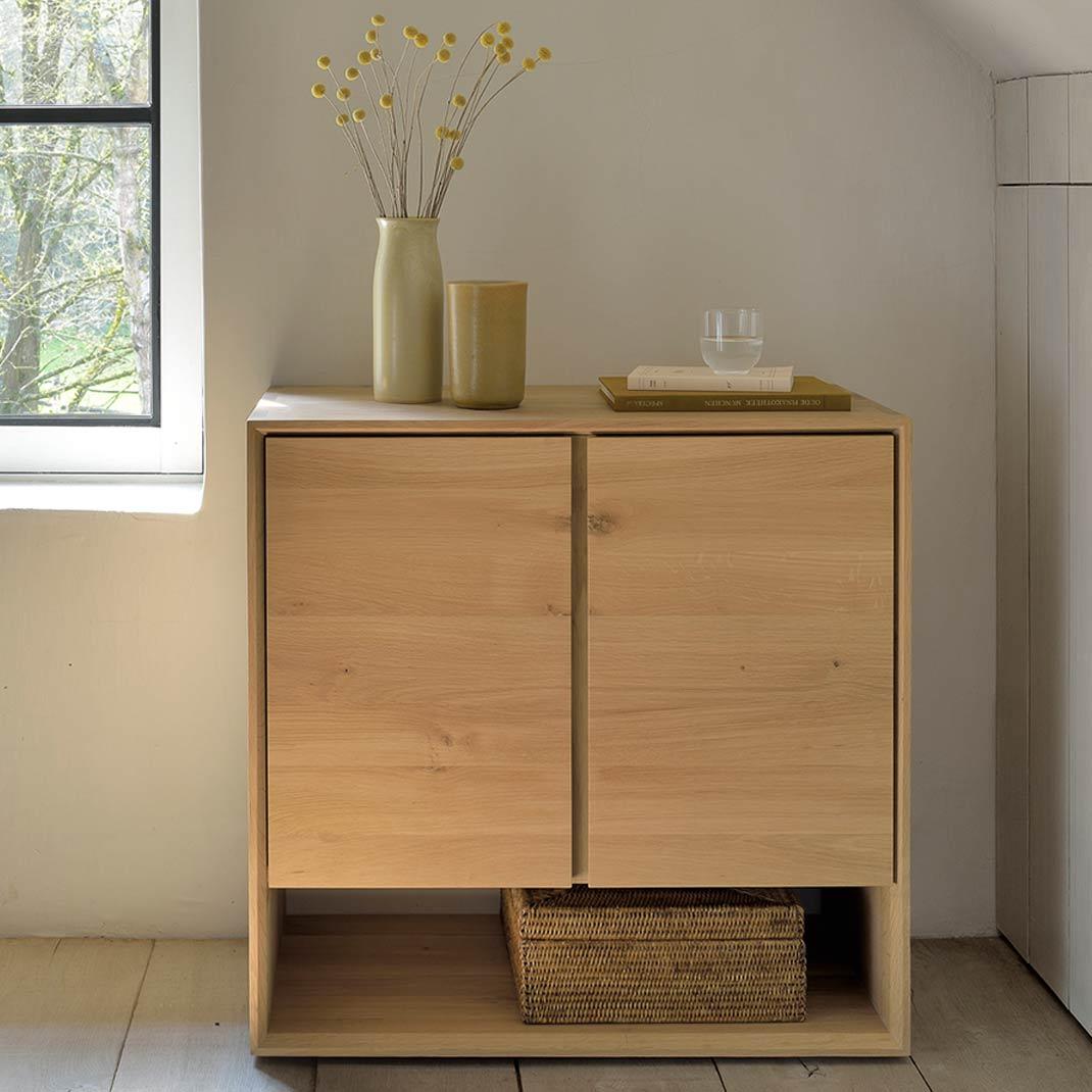 Oak Nordic sideboard - 2 doors - 80cm x 40cm x 78cm