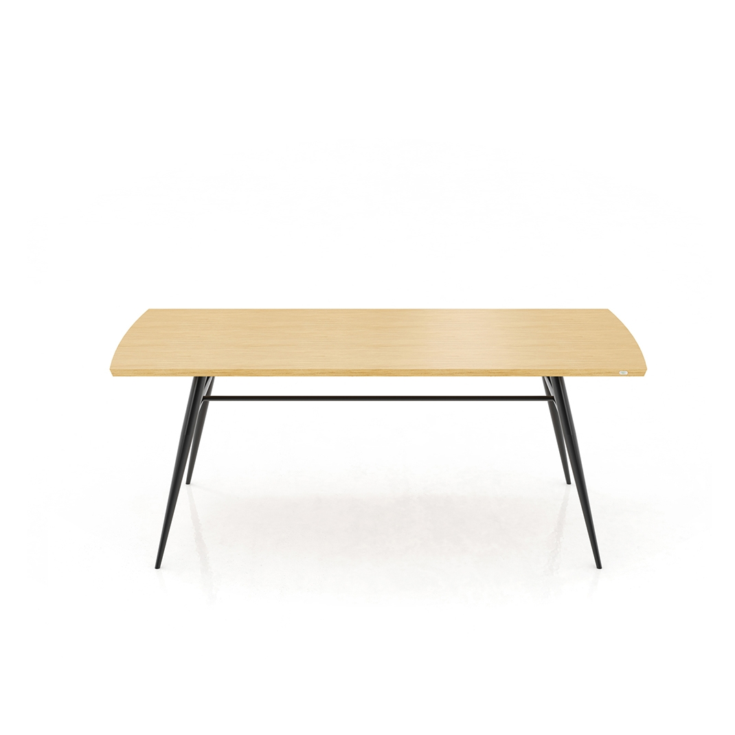 Tate oak + metal dining table