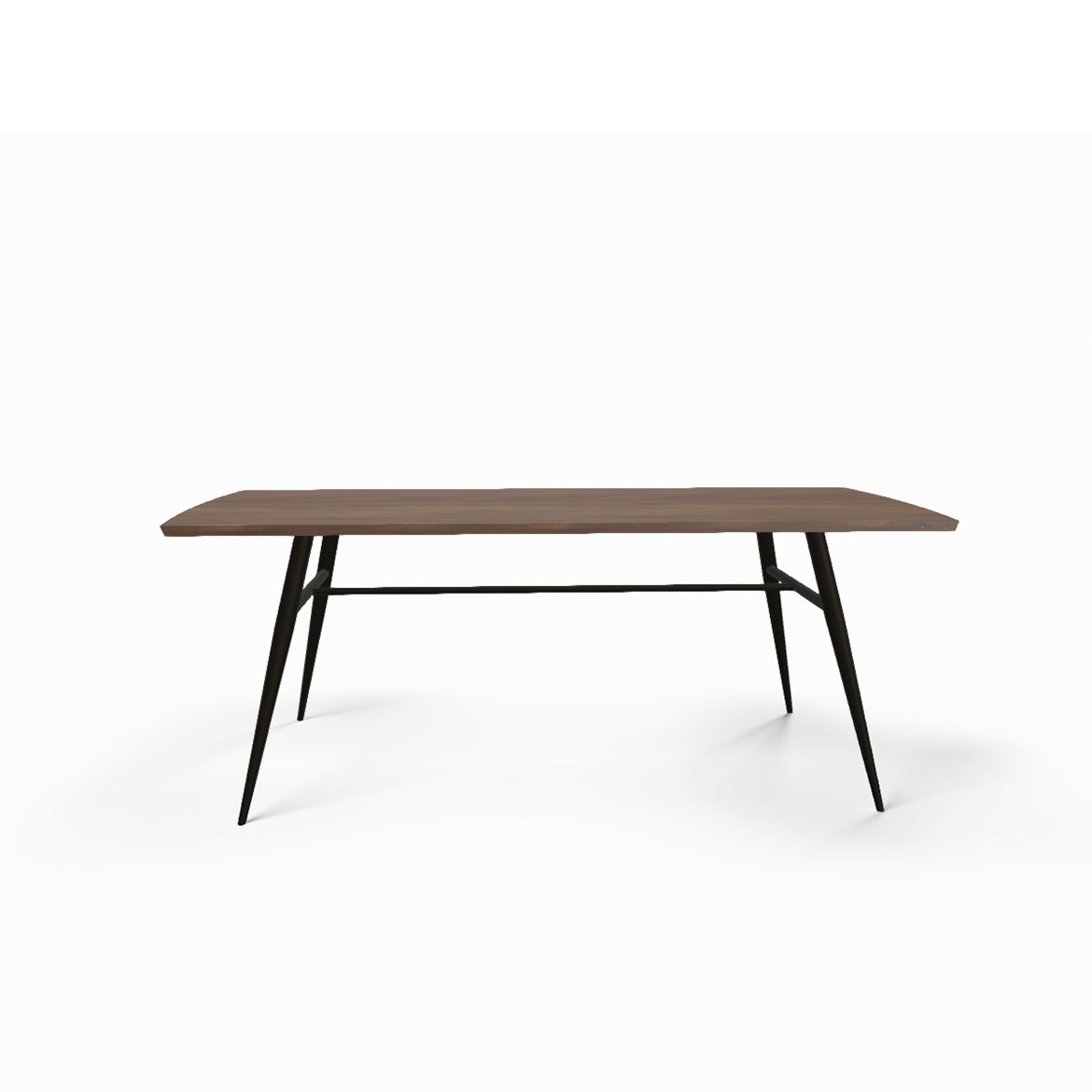 Tate walnut + metal dining table
