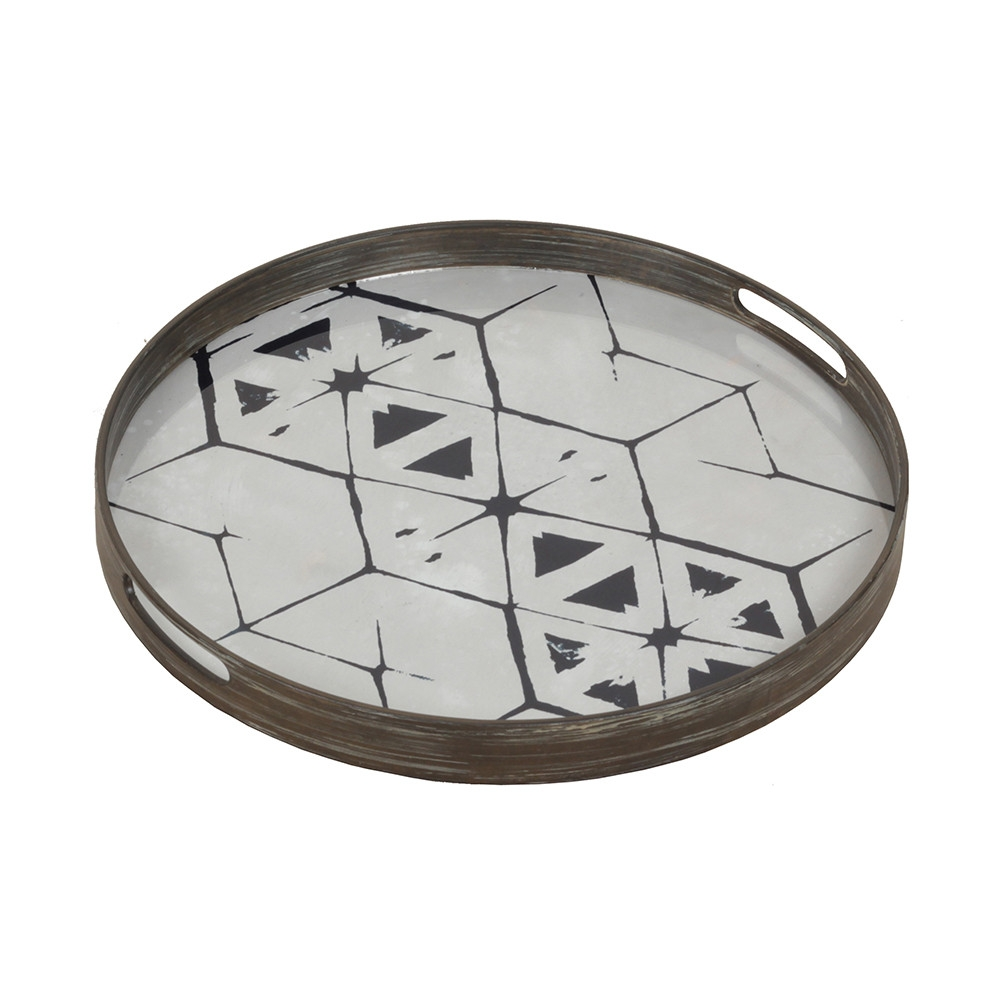 Notre Monde Tribal Hexagon - Glass Round Tray - Small 48cm