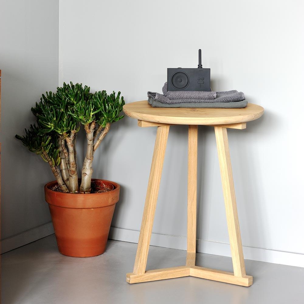 Ethnicraft Oak Tripod side tables