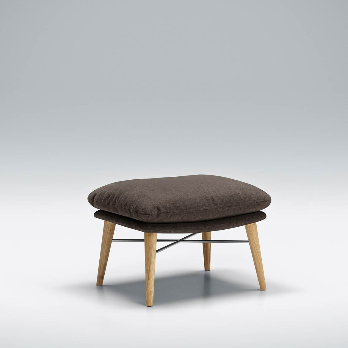 Zed footstool with wooden feet