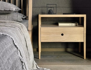 solid oak caspian bedside table