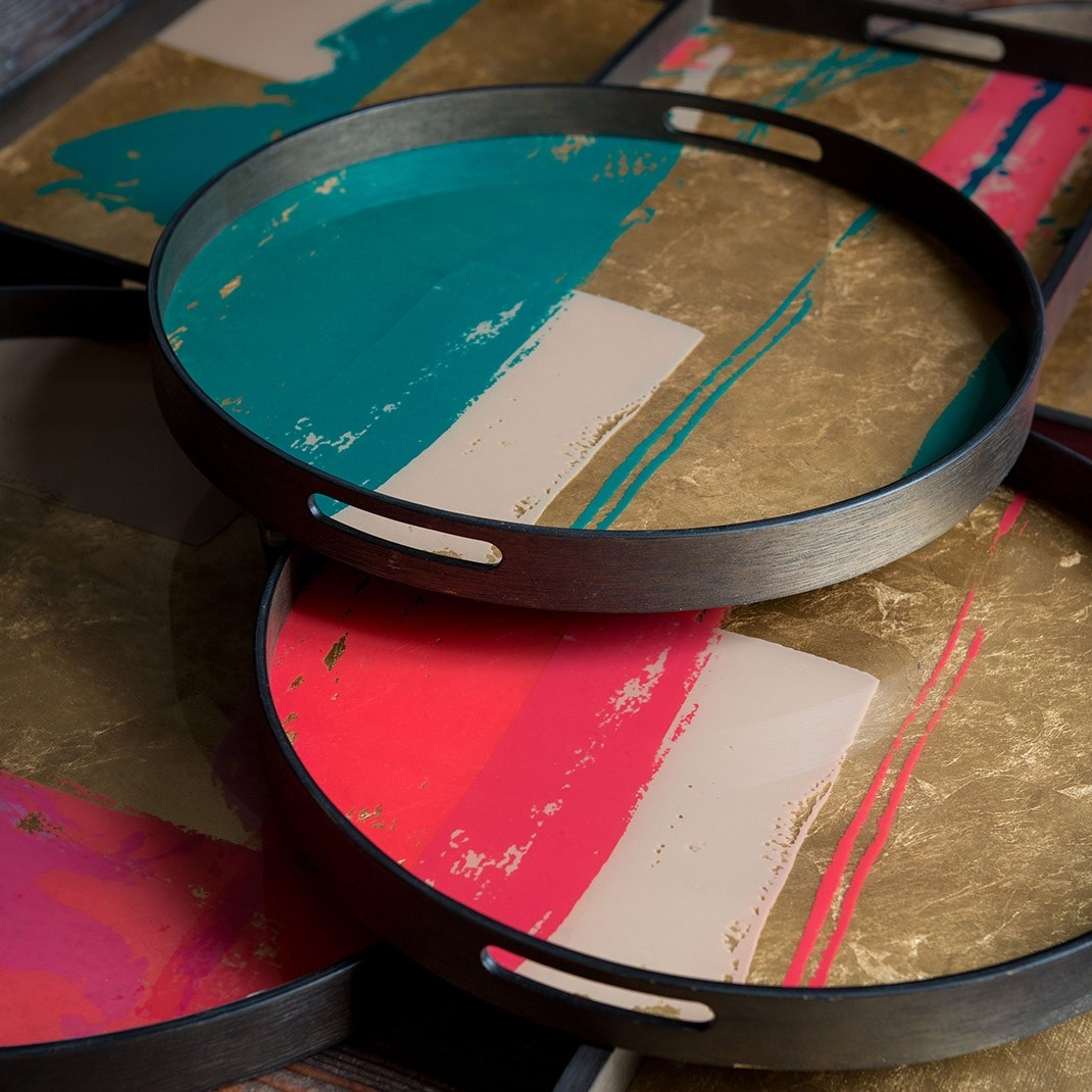 Notre Monde Turquoise Abstract Glass Round Tray Small