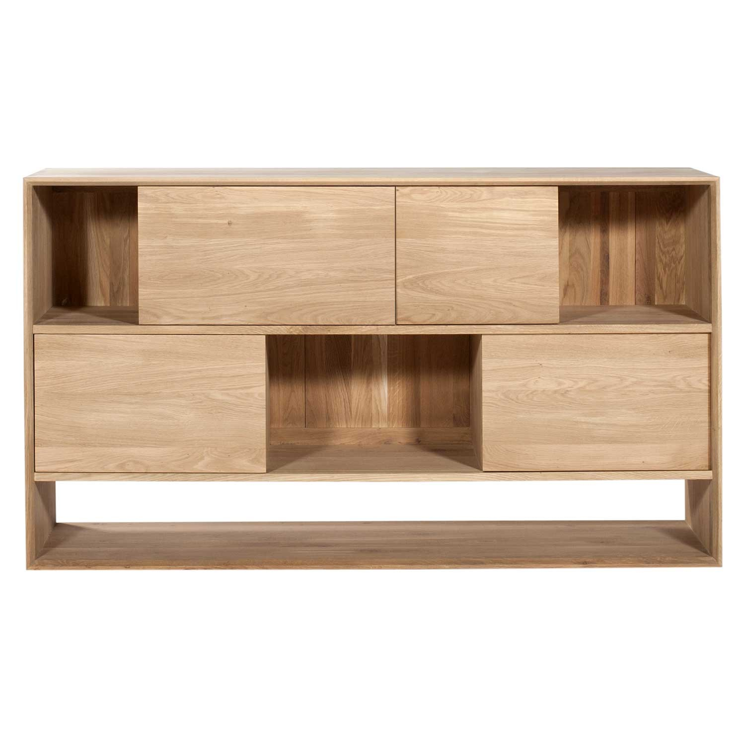 rusta hylla ek ~ ethnicraft oak nordic low rack – 4 sliding doors