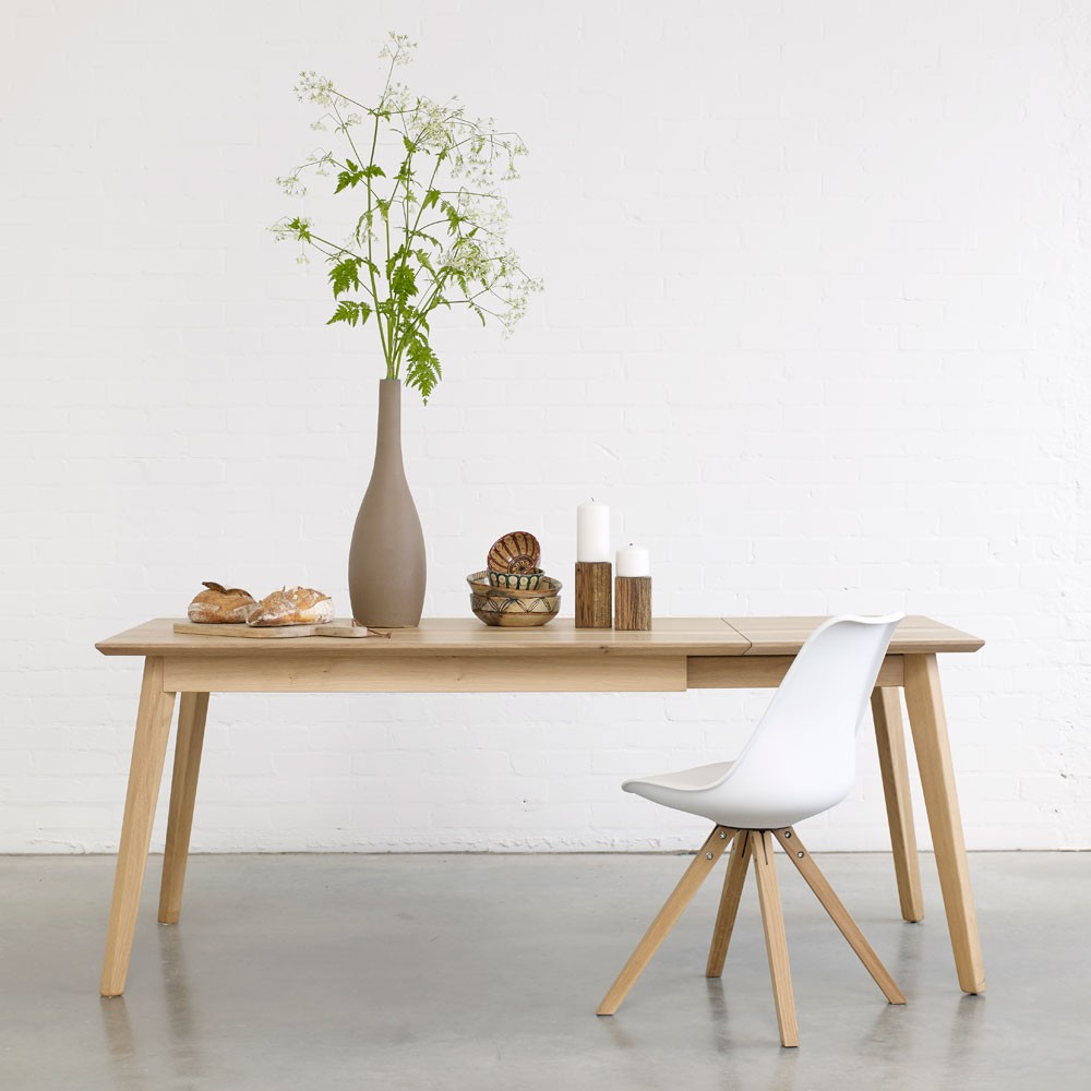 Bianco II solid wood extendable dining table