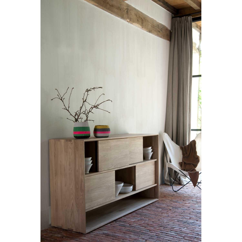 Ethnicraft Oak Nordic Low Rack 4 Sliding Doors