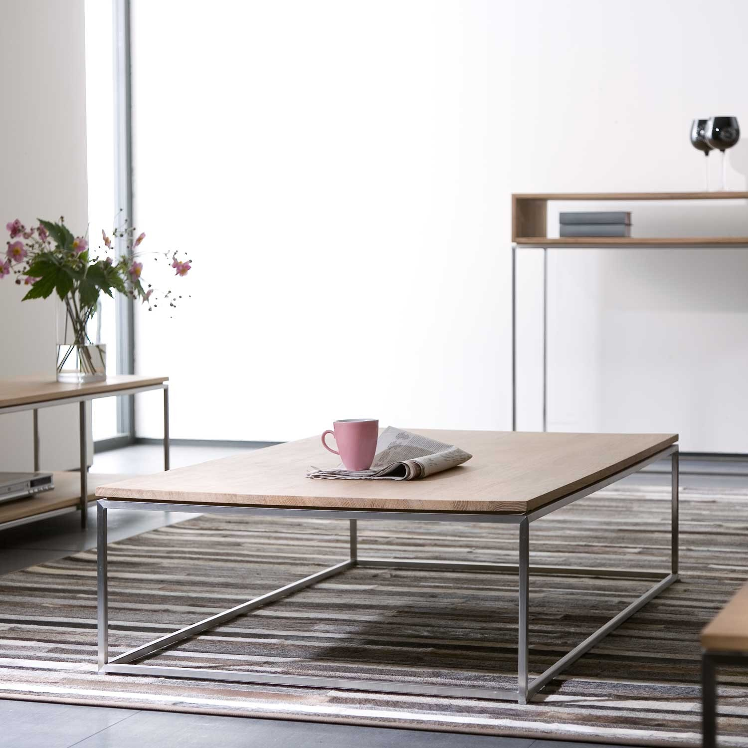 Solid Stainless Steel Coffee Table: Ethnicraft Thin Oak Coffee Table