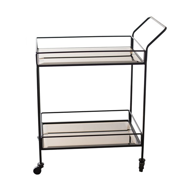 Notre Monde Bar Cart - Bronze Mirror - Metal Frame