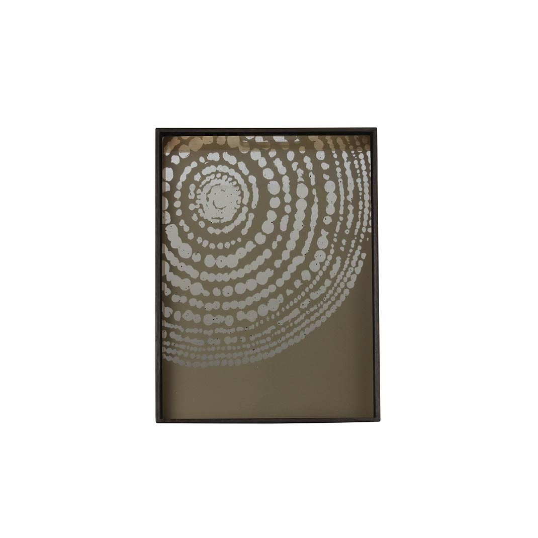 Notre Monde Beaded Detail  - Mirror Square Tray - Small 46cm