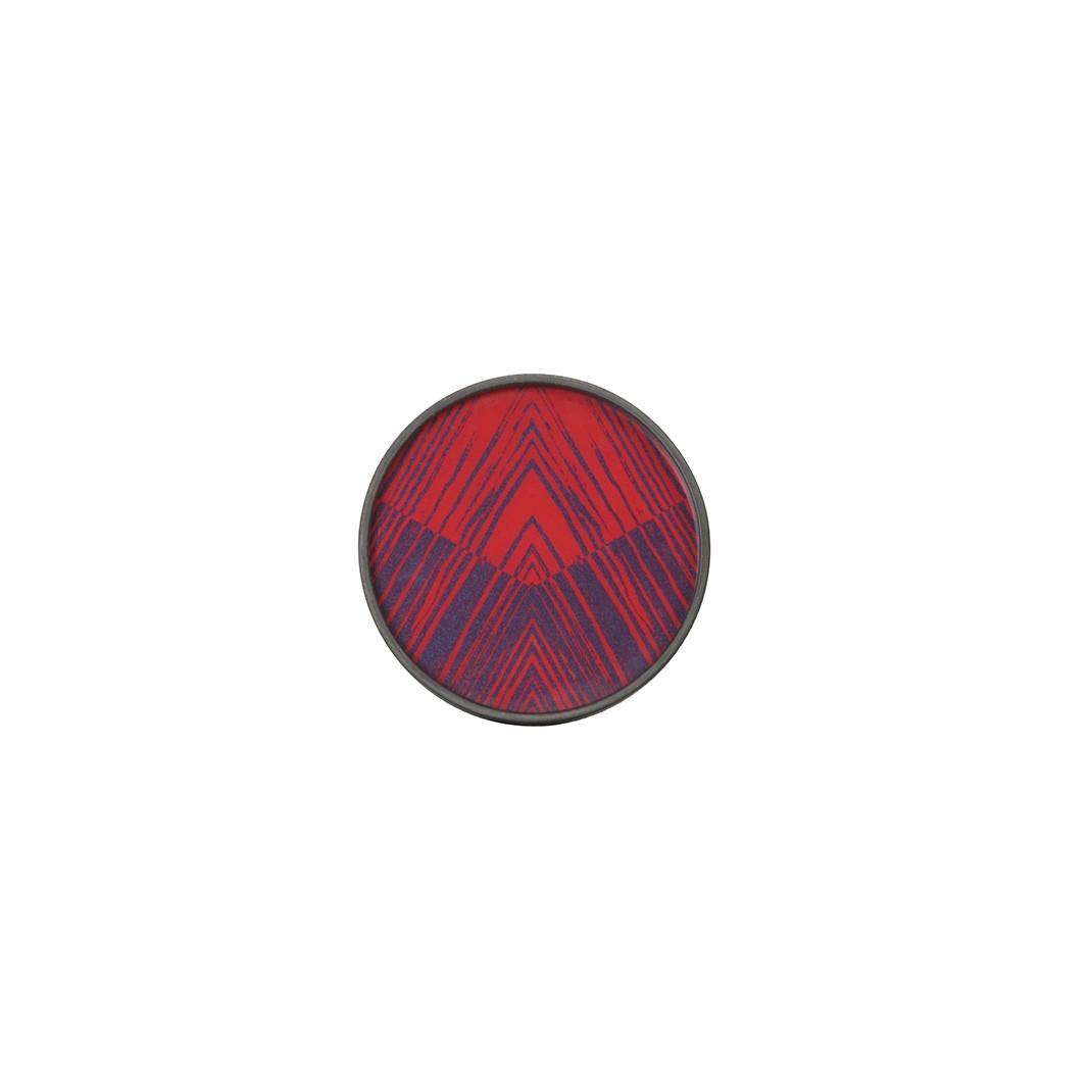 Notre Monde Midnight Linear Circles - Glass Round Tray - Mini 20cm