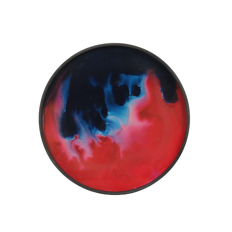 Notre Monde Midnight Raspberry Organic - Glass Round Tray - Mini 30cm