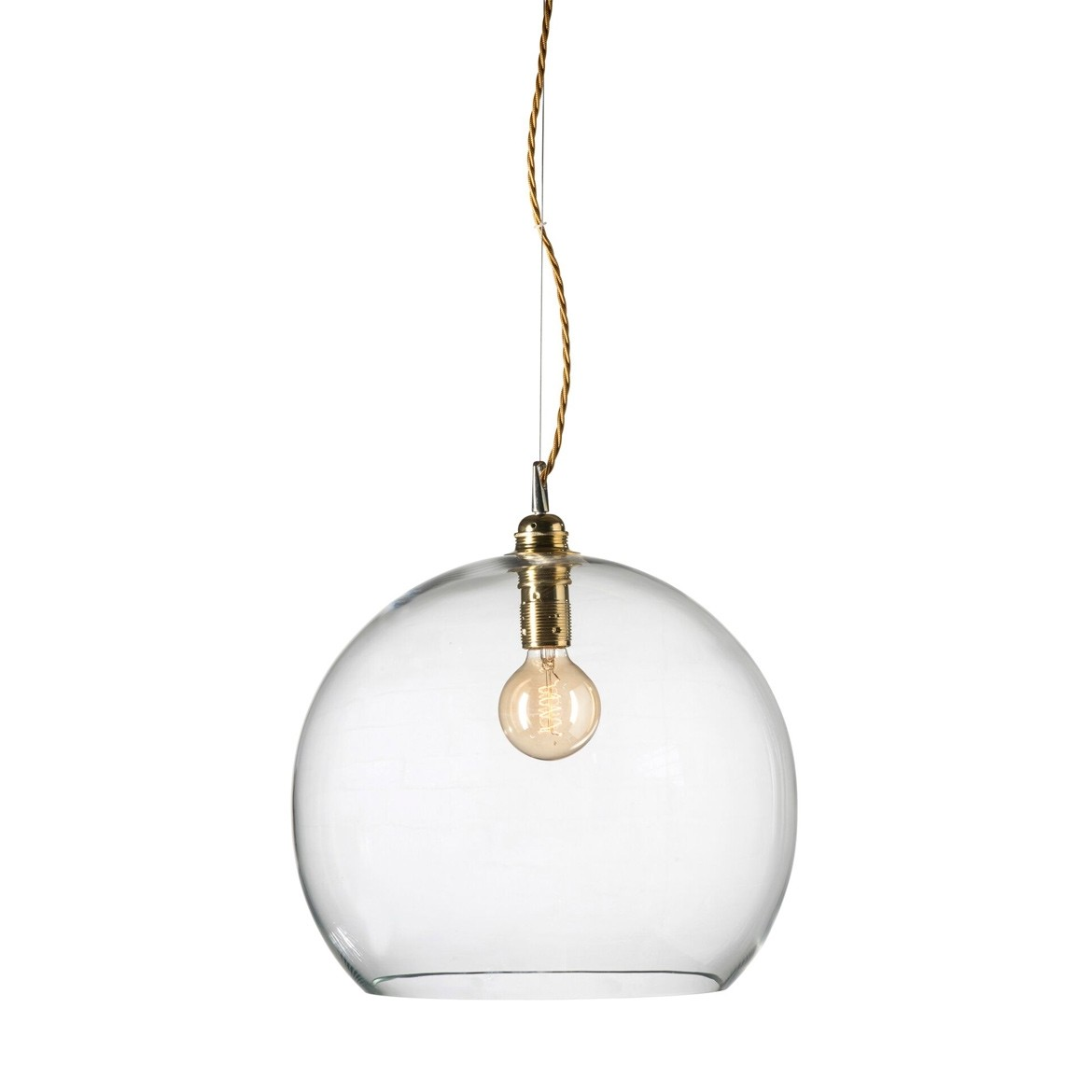 Orb glass pendant 39 cm | clear, brass wire