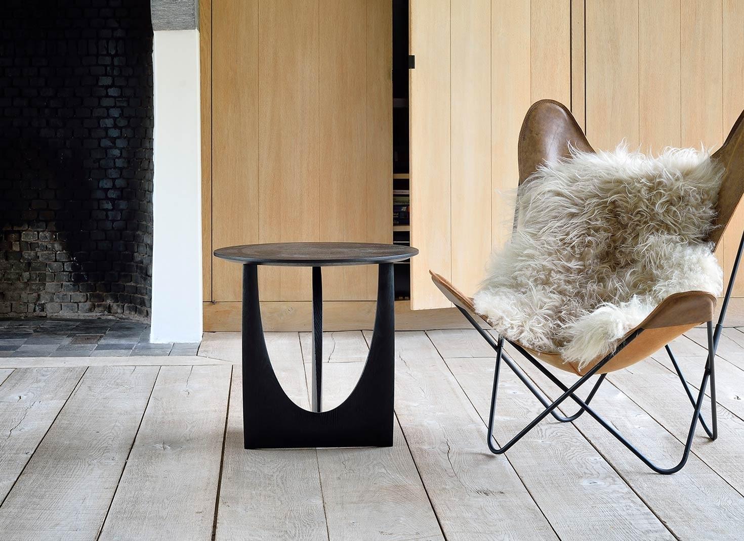Ethnicraft Oak Geometric Side Table