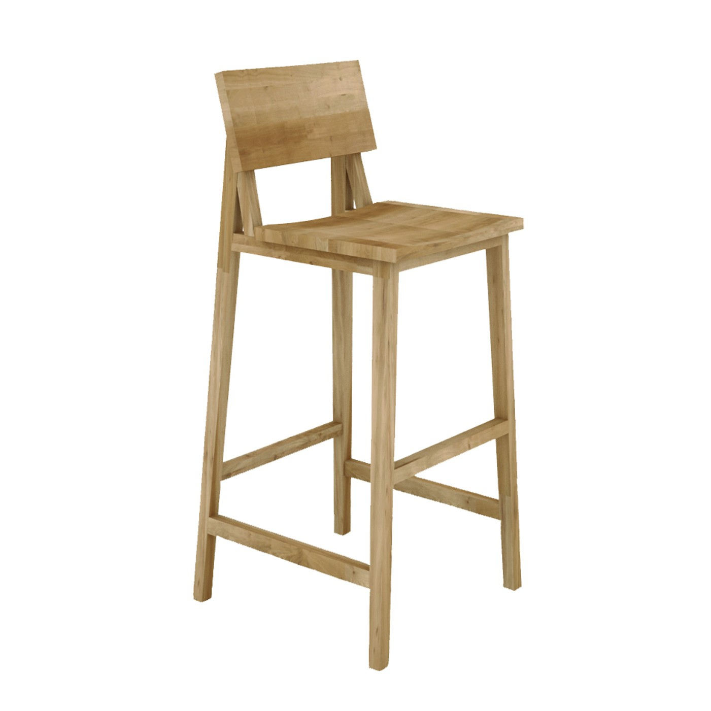 Ethnicraft Oak N4 Kitchen Counter Stool Without Amrest