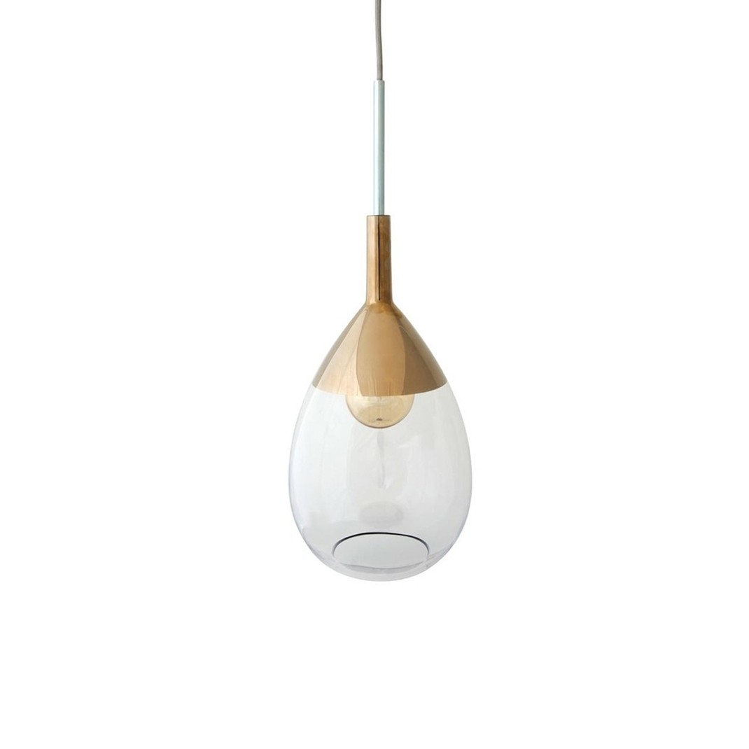 Brinco glass pendant 22cm | Clear and platinium