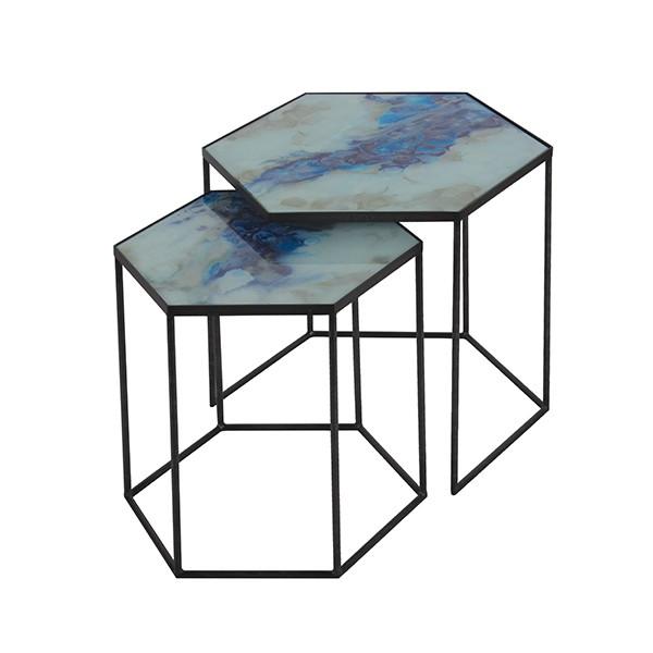 Notre Monde Cobalt Mist Organic - Hexagon Side Tables - Set