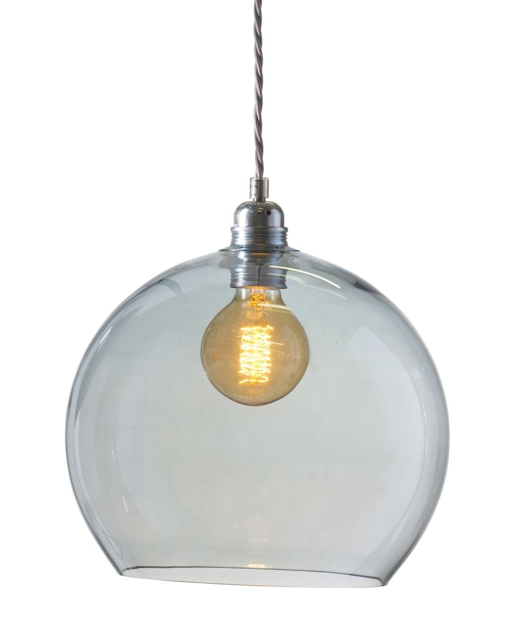 Orb glass pendant 28 cm   topaz blue, silver wire