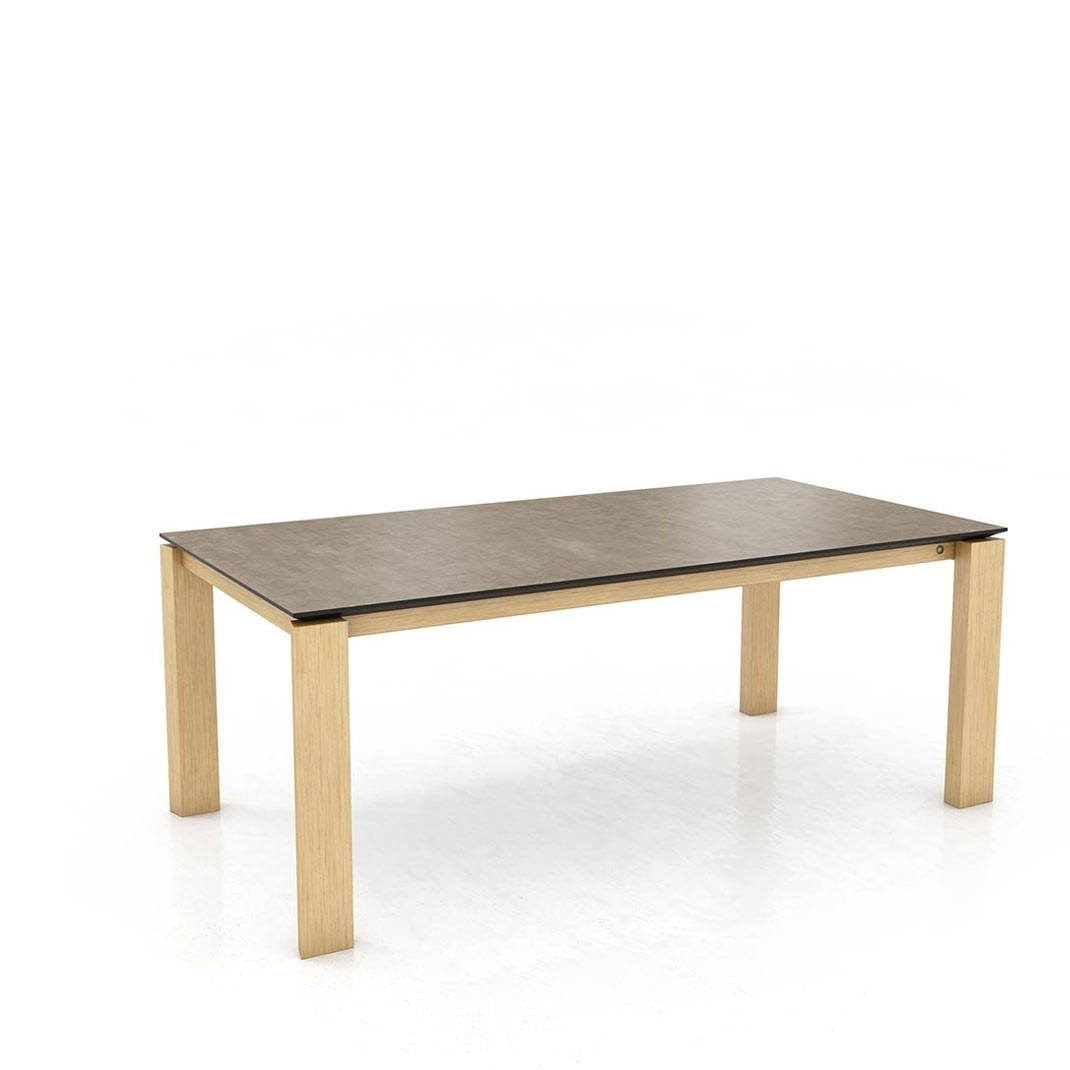 Mason straight leg PB1 Ceramic + oak extending dining table