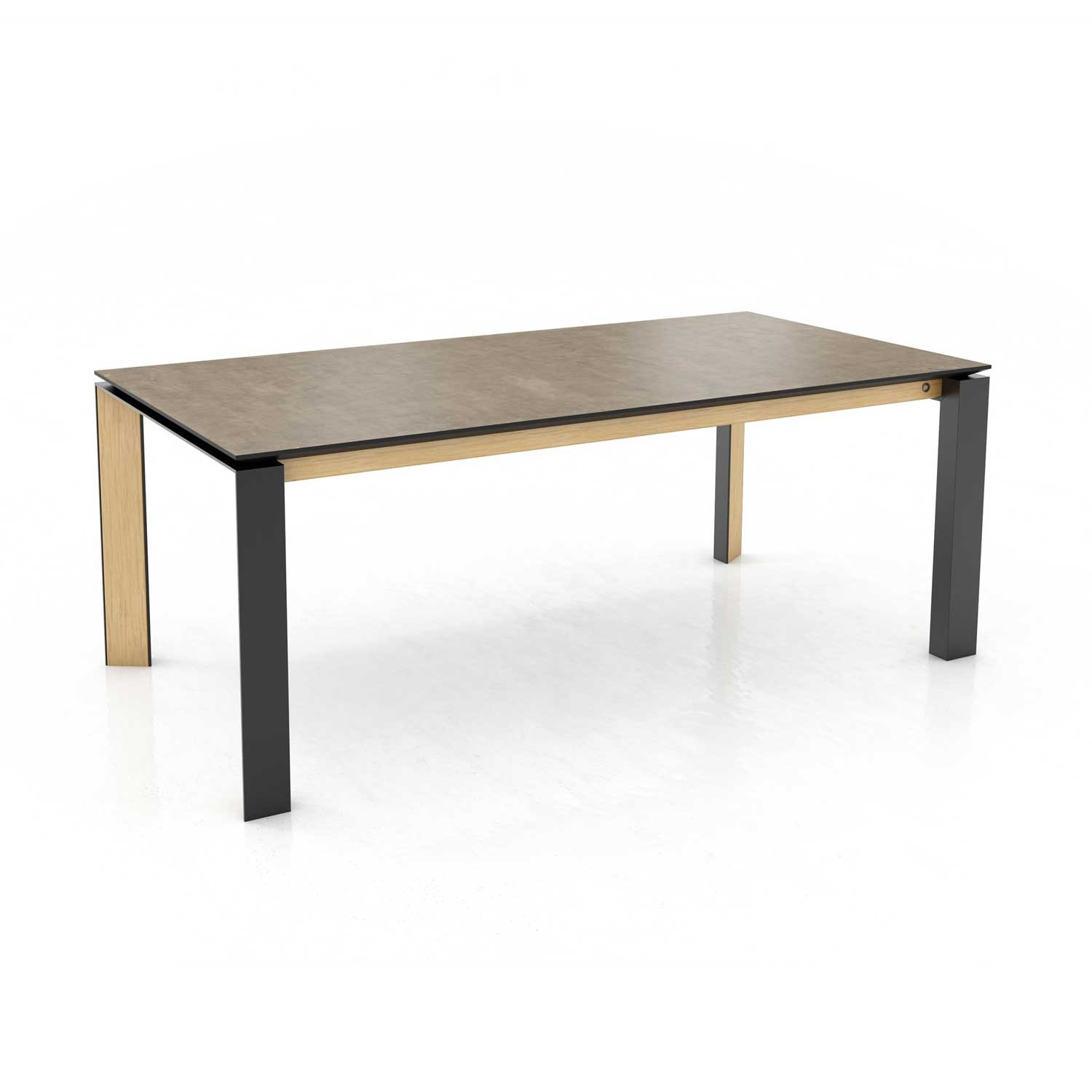 Mason metal leg PB3 Ceramic + walnut extending dining table