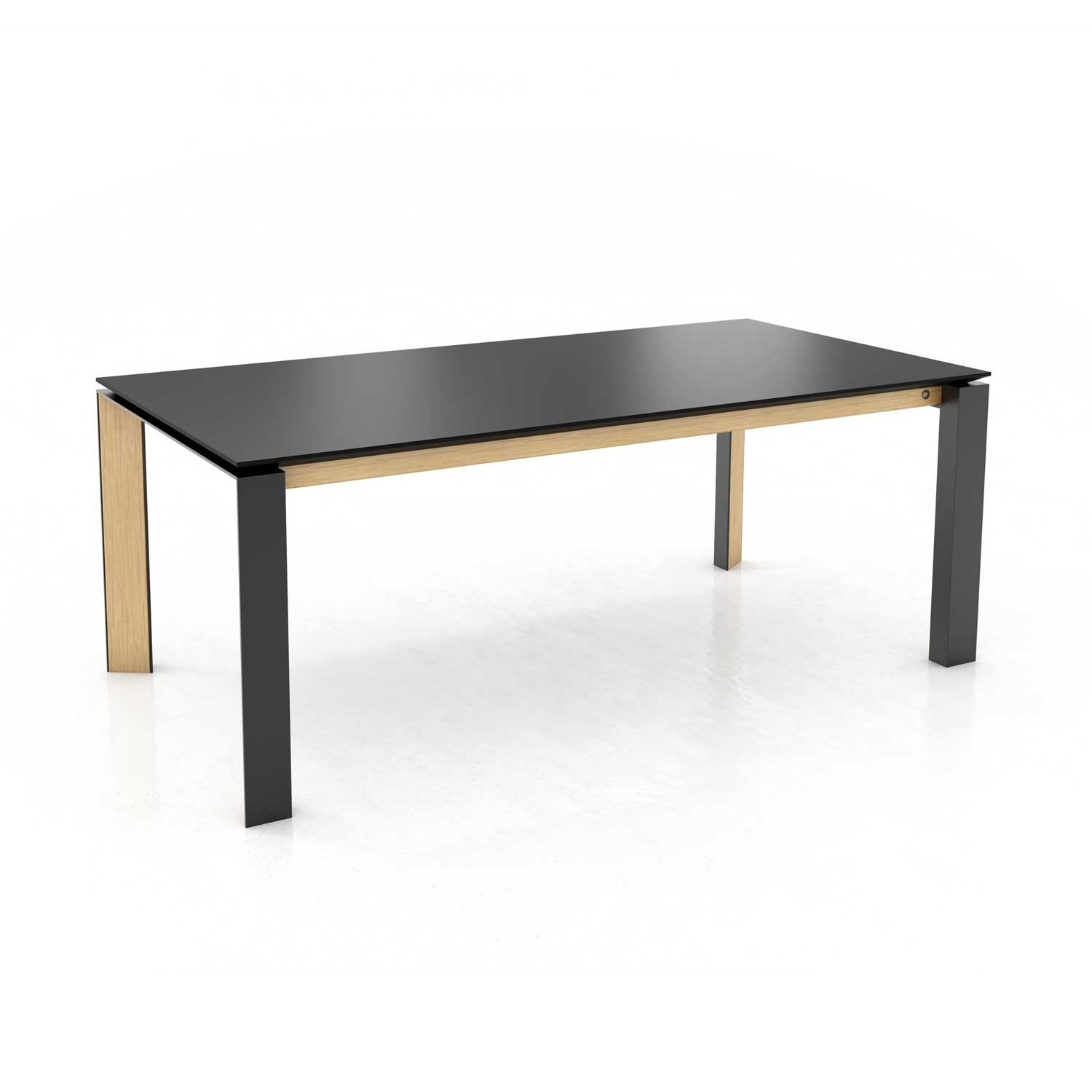 Mason metal leg PB3 Fenix + walnut extending dining table