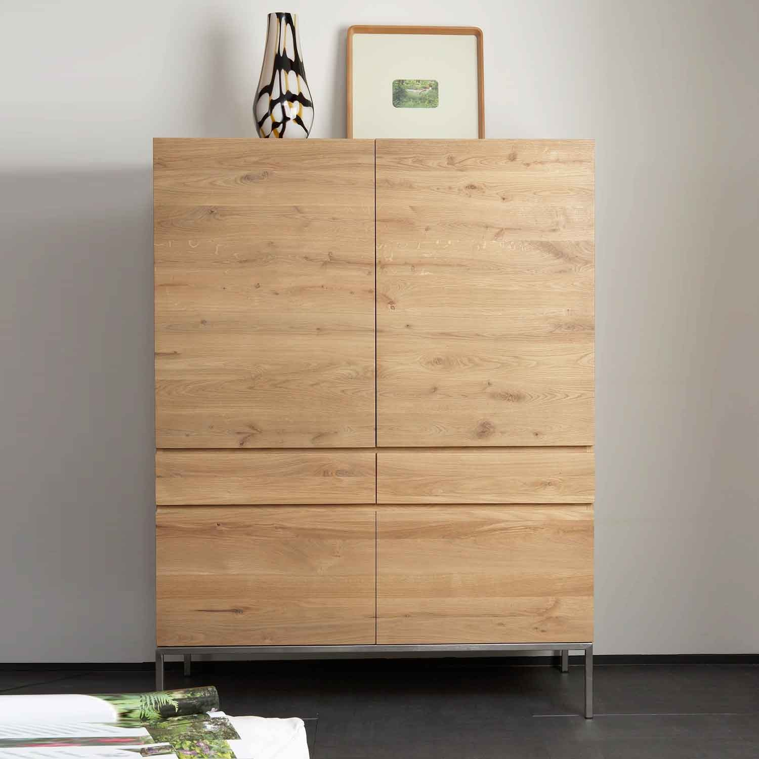 Ethnicraft Ligna Oak Storage Cupboard 4 Opening Doors 2 Drawers