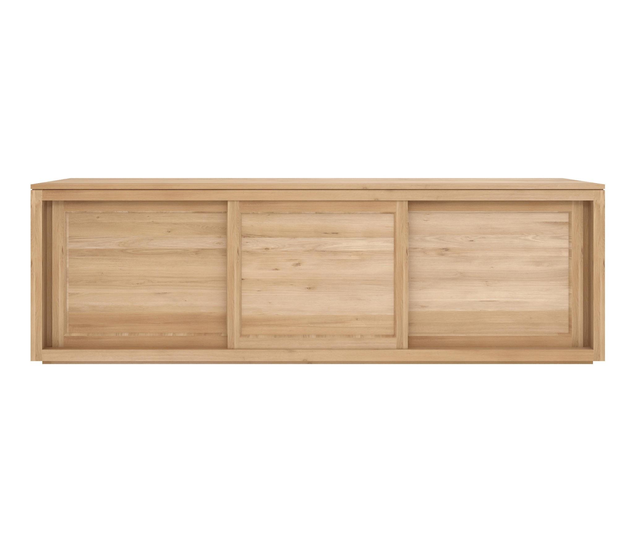 Ethnicraft oak pure sideboard 200 cm 3 sliding doors for Sideboard 250 cm