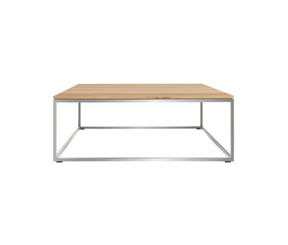 Glass And Metal Square Coffee Table In Black W 80cm: Oak Thin Coffee Table