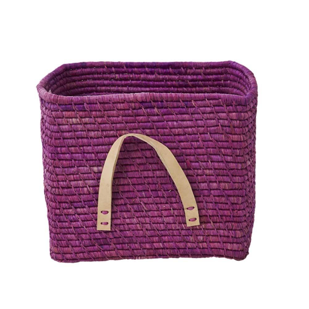 Raffia storage basket, Lavender