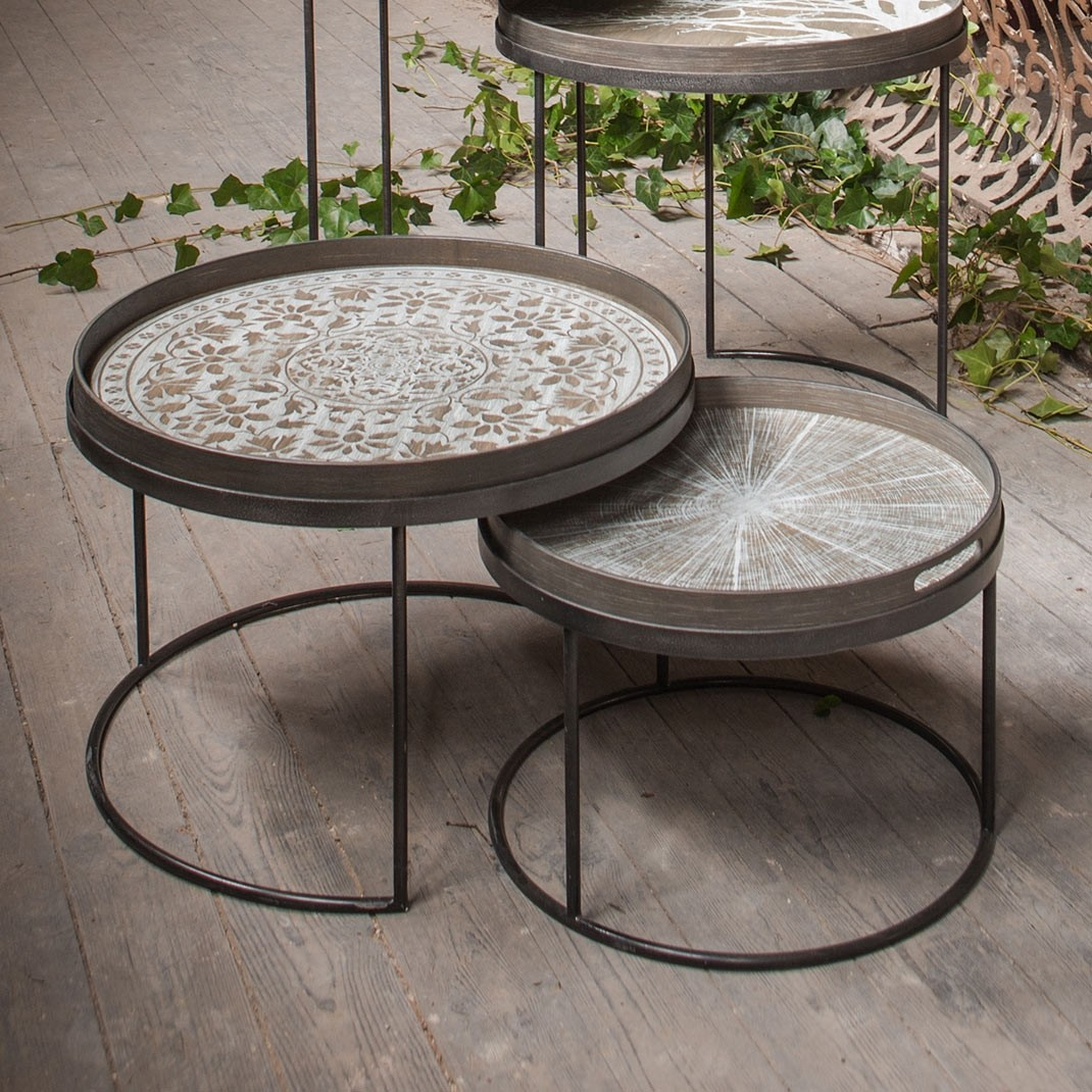 Notre Monde Round Tray Table Set - Low