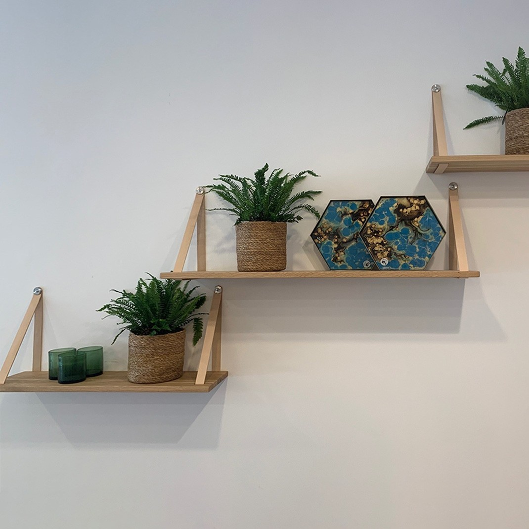 Strap shelf with leather