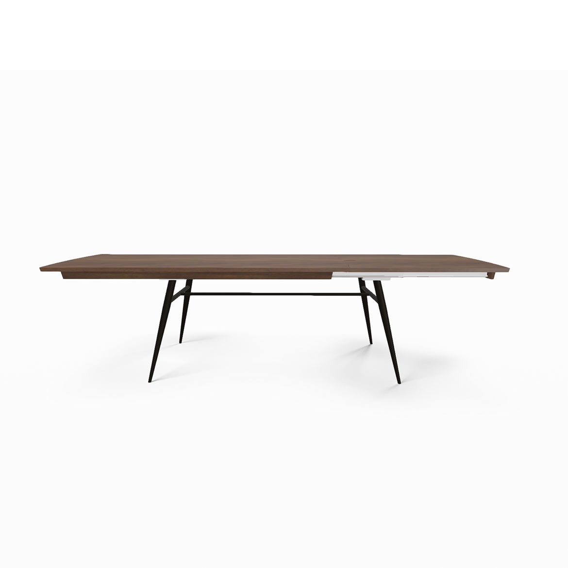 Tate walnut + metal extending dining table
