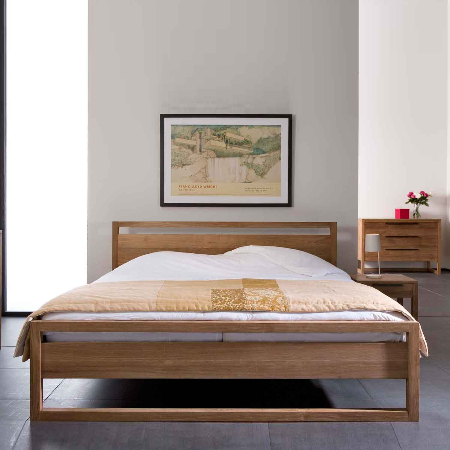 Ethnicraft Light Frame Teak Bed Solid Wood Furniture