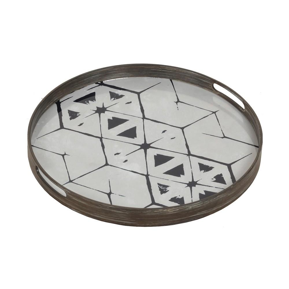 Notre Monde Tribal Hexagon - Glass Tray - Round/Small - 48cm