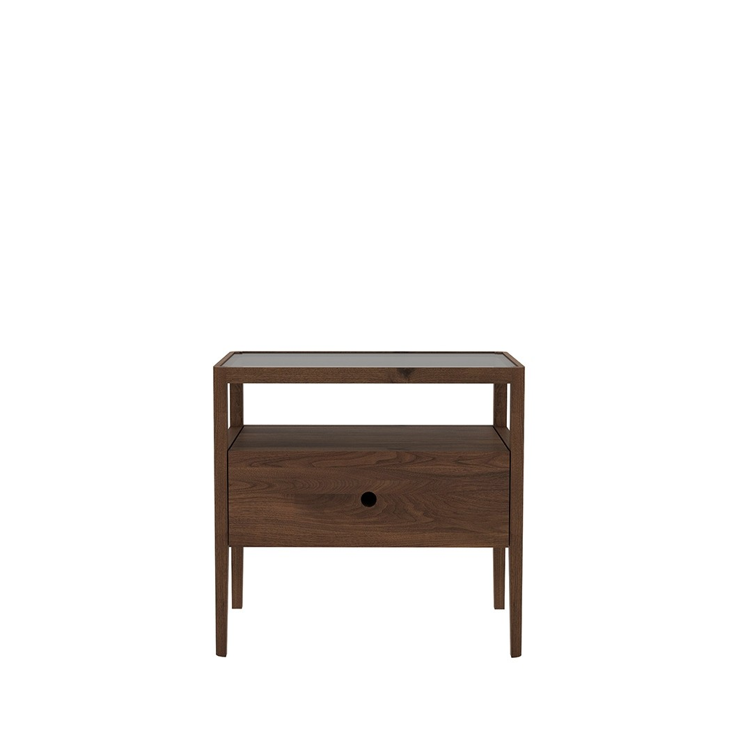 Ethnicraft walnut Spindle bedside table
