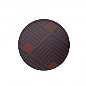 Notre Monde Midnight Chevron - Glass Round Tray - Medium 61cm